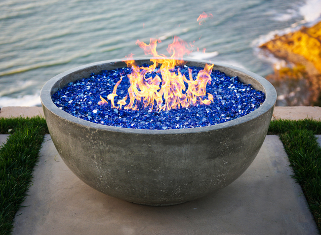Blue fire glass in Moderno fire pit