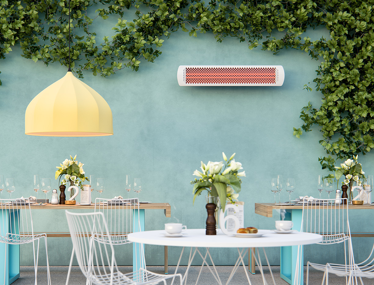 Electric Patio Heaters Everything You Need To Know Common Permanently Mounted Space Heater In Cafe