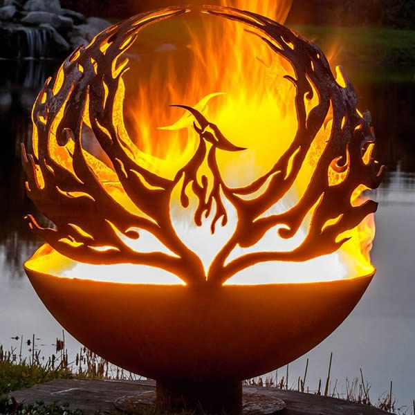 Fire Pit with Phoenix Cutout