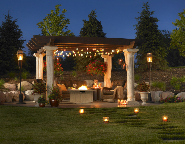 Backyard patio with gas fire pit and pergola