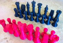 a chess set inspired by the Staunton style