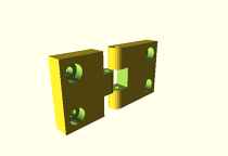 openscad hinge 2 mounting holes derivative