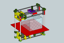 3 axis construction with options for 3d extruder head and cutting drill.