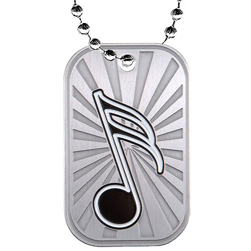 2 in Music Dog Tag w/ Chain