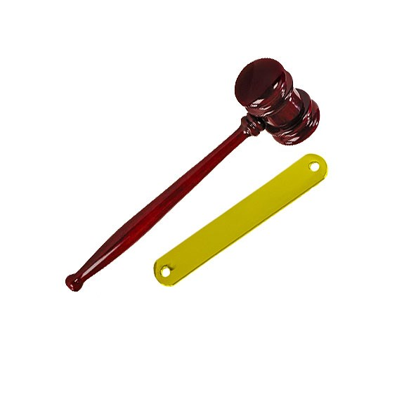 10 in Piano Finish Gavel w/ Brass Band