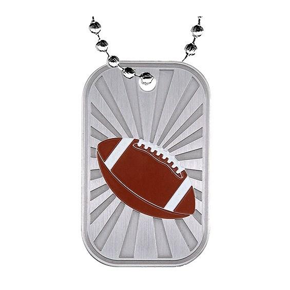 2 in Football Dog Tag w/ Chain
