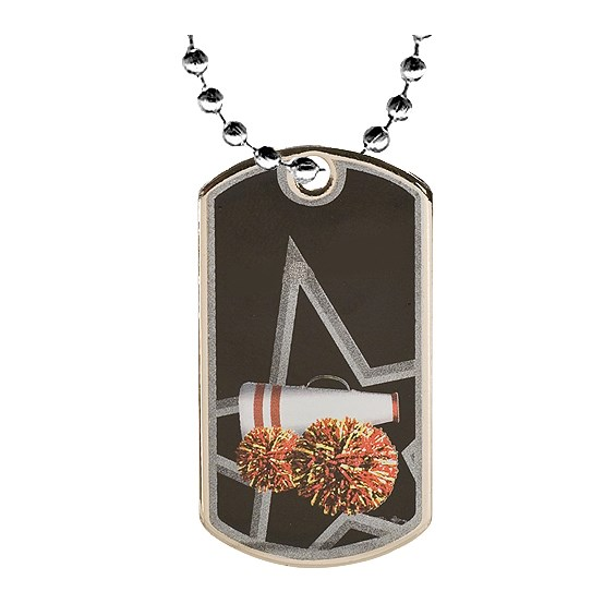 2 in Cheerleader Dog Tag w/ 24 in Chain