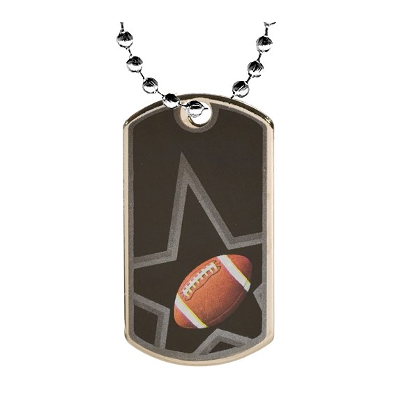 2 in Football Dog Tag w/ 24 in Chain