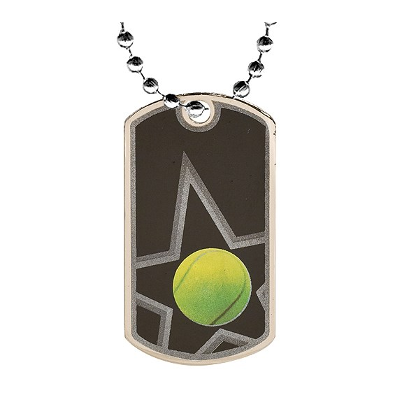 2 in Tennis Dog Tag w/ 24 in Chain