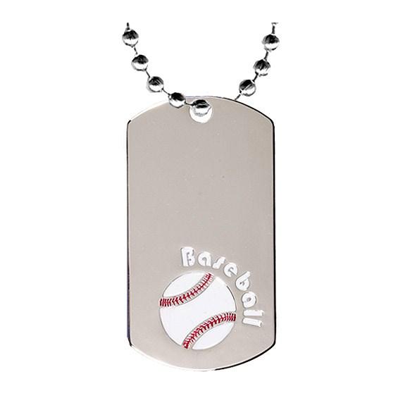 2 in Chrome Baseball Dog Tag w/ 24 in Chain