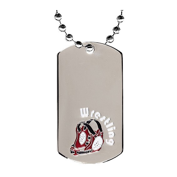 2 in Chrome Wrestling Dog Tag w/ 24 in Chain