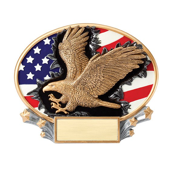 7.25 in x 6 in 3D Xplosion Eagle Oval Resin Trophy