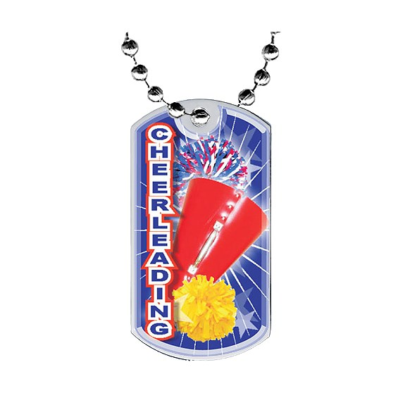 2 in Cheer Dog Tag w/ Epoxy Dome Graphics