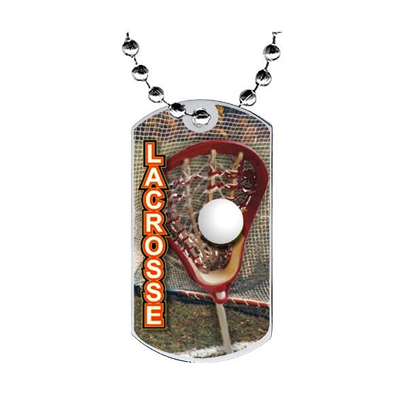 2 in Lacrosse Dog Tag w/ Epoxy Dome Graphics