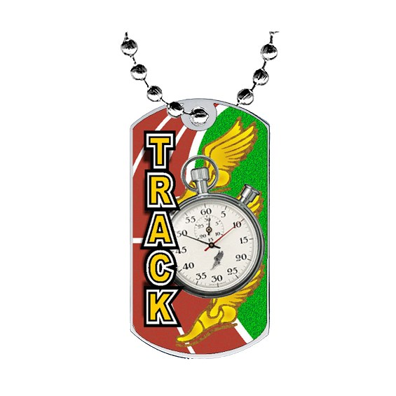 2 in Track Dog Tag w/ Epoxy Dome Graphics
