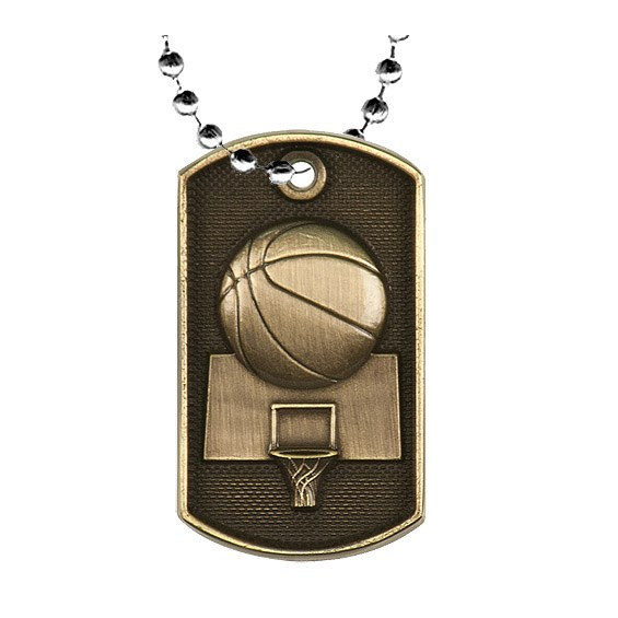 2 in 3D Basketball Dog Tag w/ 24 in Chain