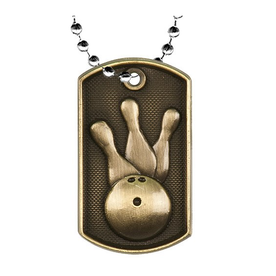 2 in 3D Bowling Dog Tag w/ 24 in Chain