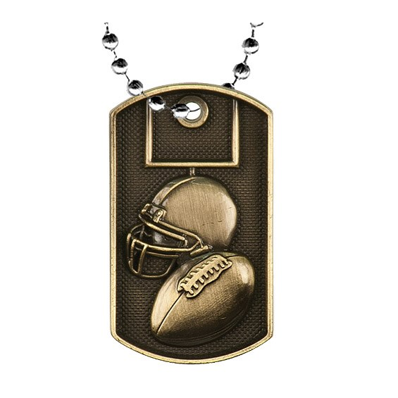 2 in 3D Football Dog Tag w/ 24 in Chain