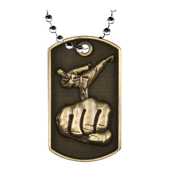 2 in 3D Karate Dog Tag w/ 24 in Chain