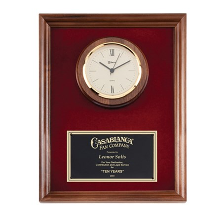 10 in x 13 in Genuine Walnut Quartz Clock Plaque with Red Velour