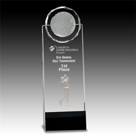 Clear/Black Crystal Stand Up w/ 3D Golfer | Awards International