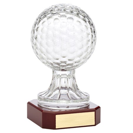 10.5 in Crystal Golf Ball w/ Rosewood Base Award