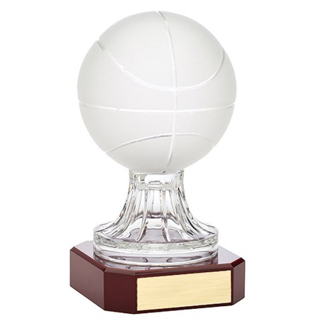 10.5 in Crystal Basketball w/ Rosewood Base Award