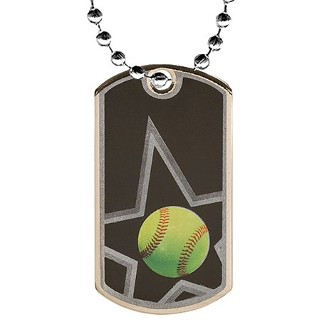 2 in Softball Dog Tag w/ 24 in Chain