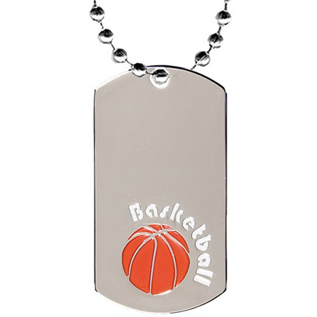 2 in Chrome Basketball Dog Tag w/ 24 in Chain