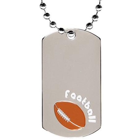 2 in Chrome Football Dog Tag w/ 24 in Chain