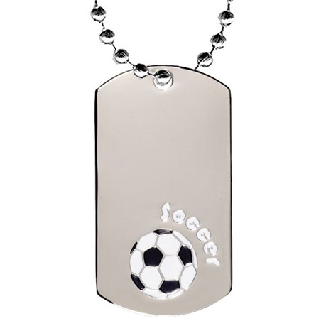 2 in Chrome Soccer Dog Tag w/ 24 in Chain