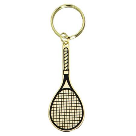 2.5 in Polished Brass Keychain - Tennis