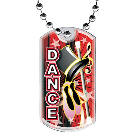 2 in Dance Dog Tag w/ Epoxy Dome Graphics