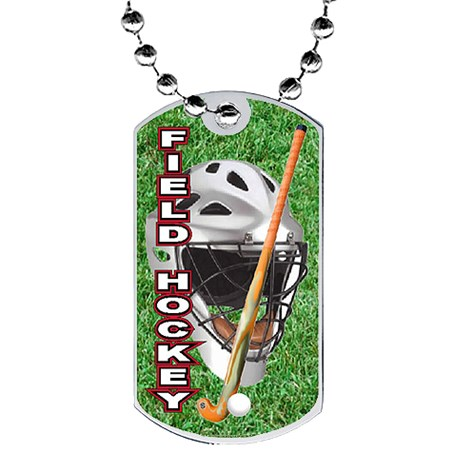 2 in Field Hockey Dog Tag w/ Epoxy Dome Graphics
