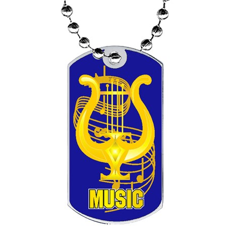 2 in Music Dog Tag w/ Epoxy Dome Graphics