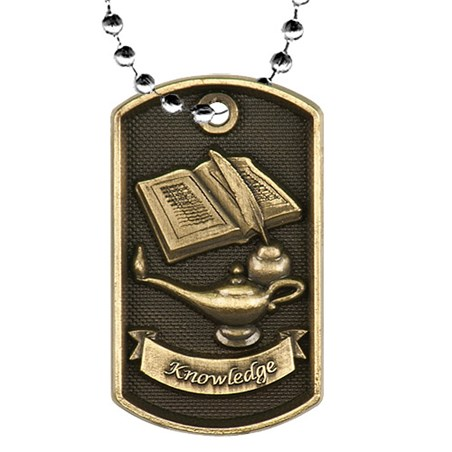 2 in 3D Academic Dog Tag w/ 24 in Chain