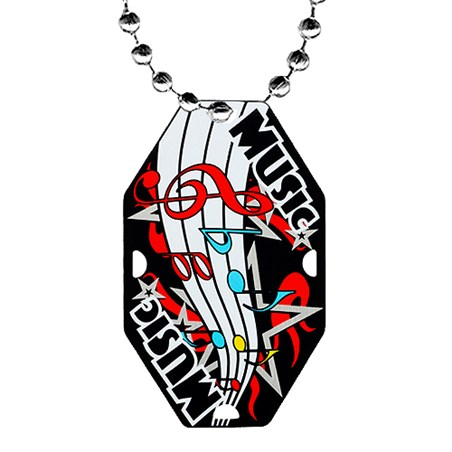 2.5 in Music Dog Tag w/ Chain