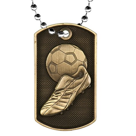 2 in 3D Soccer Dog Tag w/ 24 in Chain