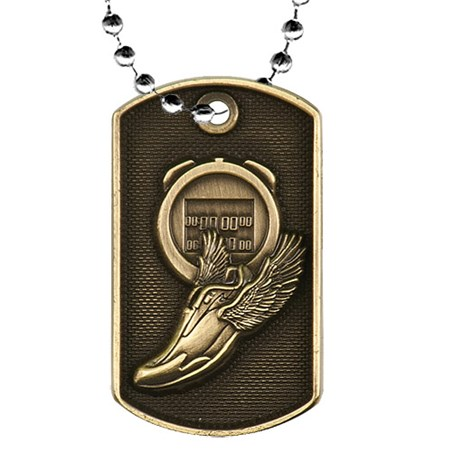2 in 3D Track Dog Tag w/ 24 in Chain