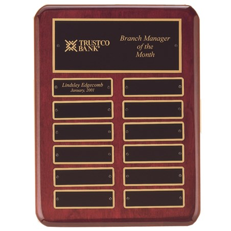 9 in x 12 in Rosewood Perpetual Plaque