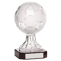 Crystal Soccer Ball On Rosewood Base