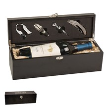 Matte Black Finish Single Wine Presentation Box with Tools