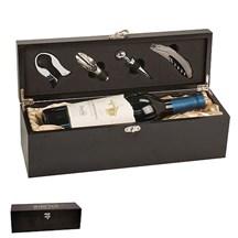 Matte Black Finish Single Wine Presentation Box with Tools