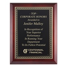 Genuine Cherry Corporate Plaque with Black Plate