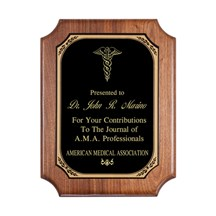 Genuine Walnut Corporate Plaque with Black Brass Plate