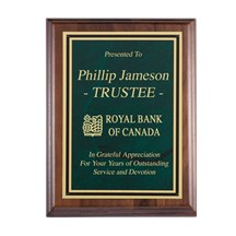 Solid Walnut Corporate Plaque with a Green Marble Plate