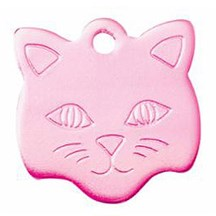 Pink Cat Face Pet Tag