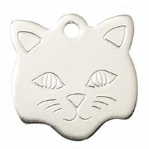 Silver Cat Face Pet Tag