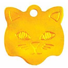 Gold Cat Face Pet Tag