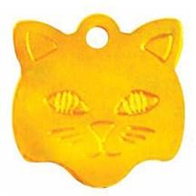Gold Cat Face Pet Tag